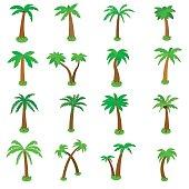 Palm tree icons set, isometric 3d style
