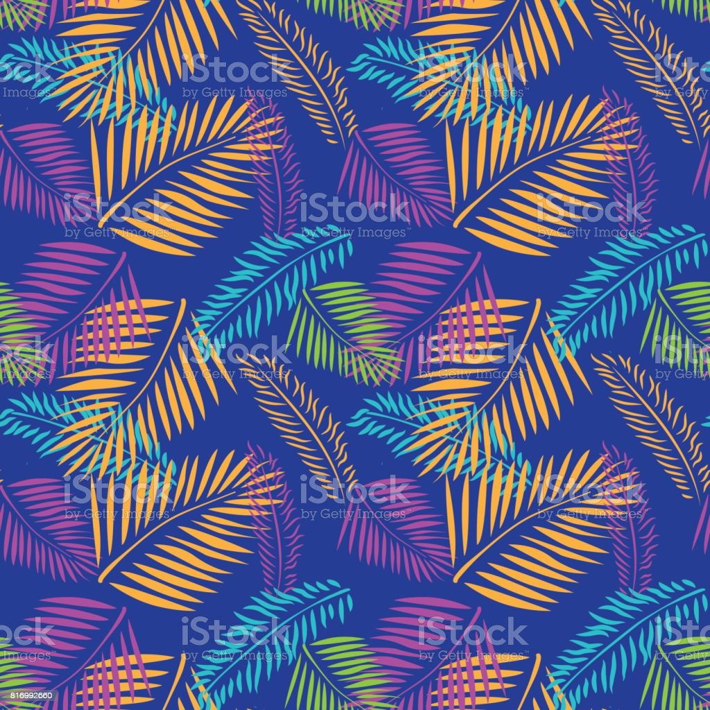Palm árbol hojas de patrones sin fisuras ornamento Tropical fondo estilo - ilustración de arte vectorial