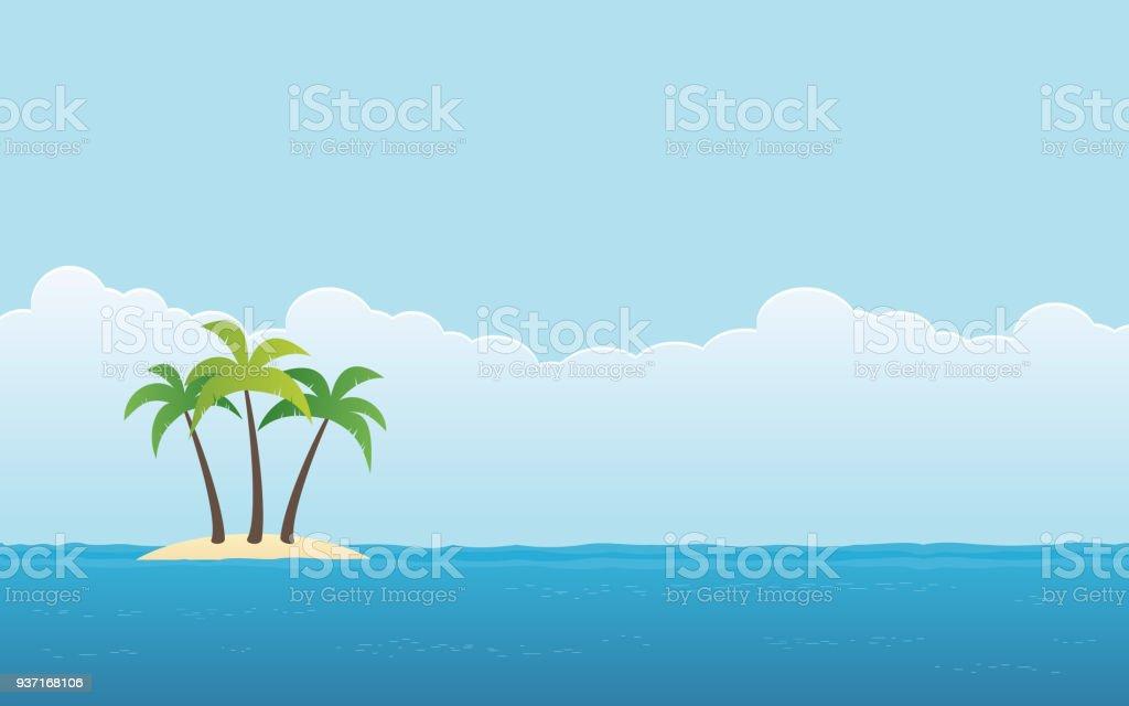 palmier sur fond de ciel bleu et de l'île dans la conception de l'icône plate palmier sur fond de ciel bleu et de lîle dans la conception de licône plate vecteurs libres de droits et plus d'images vectorielles de abstrait libre de droits
