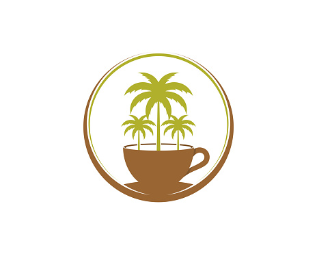 Palm tree on the coffee cup