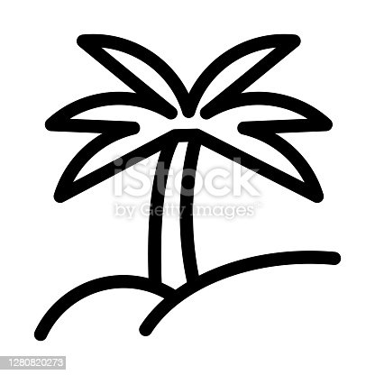 Palm tree or coconut tree icon in line style.