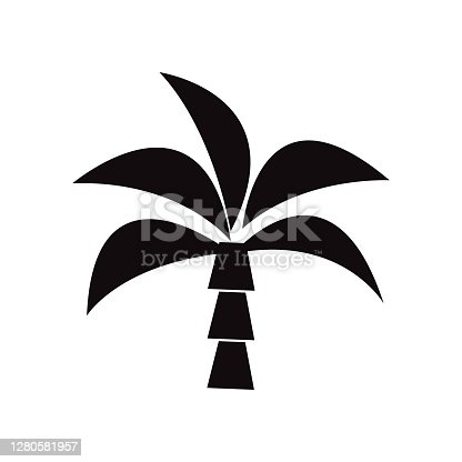 Palm tree or coconut tree line icon illustration isolated on white background.