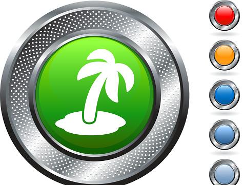 palm tree royalty free vector art on metallic button