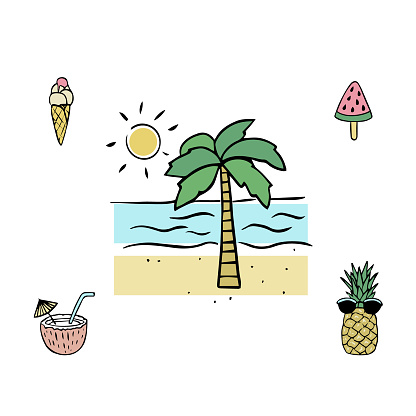 Palm tree, sea and sun, ice cream, watermelon, cocktail and pineapple. A set of elements and symbols of summer holidays for design.