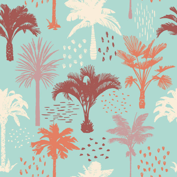 Palm tree seamless pattern. Holiday summer tropical background. Palm tree seamless pattern with abstract doodle elements. Silhouettes of drawn tropical plants. Flat Hawaiian background with banana and coconut palm trees. For t-shirt, cloth, fabric, textile, idyllic stock illustrations