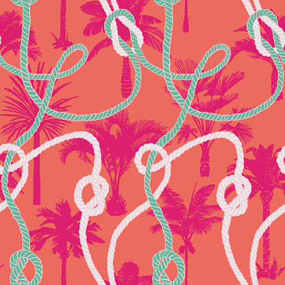 Palm tree seamless pattern. Holiday summer tropical background with twisted ropes and palms.