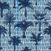 Palm tree silhouettes seamless pattern. Hand-drawn tropical plants. Trendy exotic botanical floral background with banana palm tree, coconut palm tree. Geometric dashed vertical lines stitch texture.