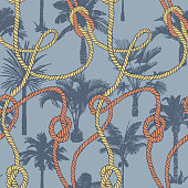 Palm tree seamless pattern with twisted ropes with knots. Flat nautical ornament. Exotic sea tropical background.