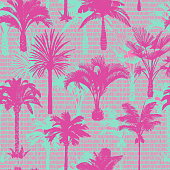 Palm tree silhouettes seamless pattern. Hand-drawn tropical plants. Trendy exotic botanical background with banana palm tree, coconut palm tree. Geometric dashed lines stitch texture.