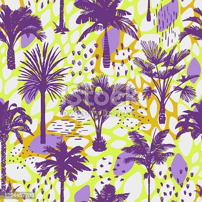 Palm tree seamless pattern with abstract doodle texture. Silhouettes of drawn tropical plants. Flat trendy exotic background with banana and coconut palm trees. Good for wallpaper, web page, textile,
