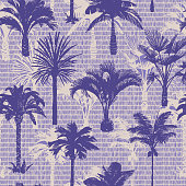 istock Palm tree seamless pattern. Holiday summer tropical background with brush strokes dashed lines texture., 1224459614