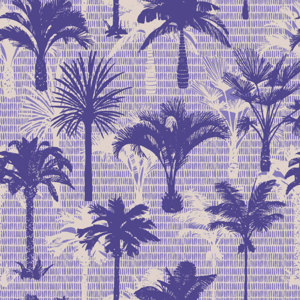 Palm tree seamless pattern. Holiday summer tropical background with brush strokes dashed lines texture., Palm tree silhouettes seamless pattern. Hand-drawn tropical plants. Trendy exotic botanical background with banana palm tree, coconut palm tree. Geometric dashed lines stitch texture. idyllic stock illustrations