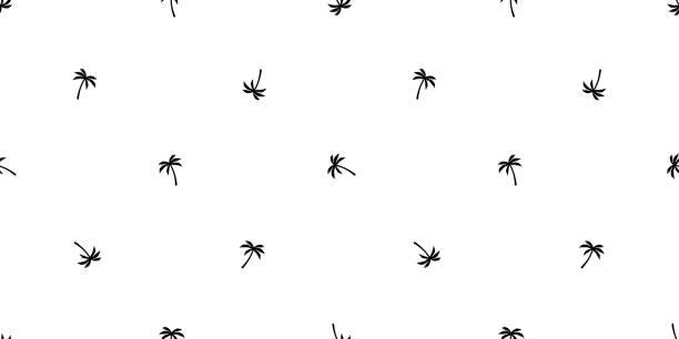 illustrations, cliparts, dessins animés et icônes de palm tree transparente motif vecteur coco arbre île été plage tropicale écharpe isolé tuile fond papier peint répéter océan illustration - palmier