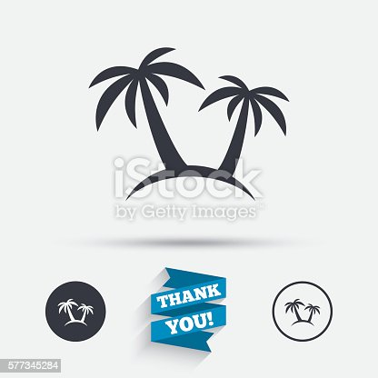 Palm Tree Sign Icon Travel Trip Symbol Stock Vector Art More