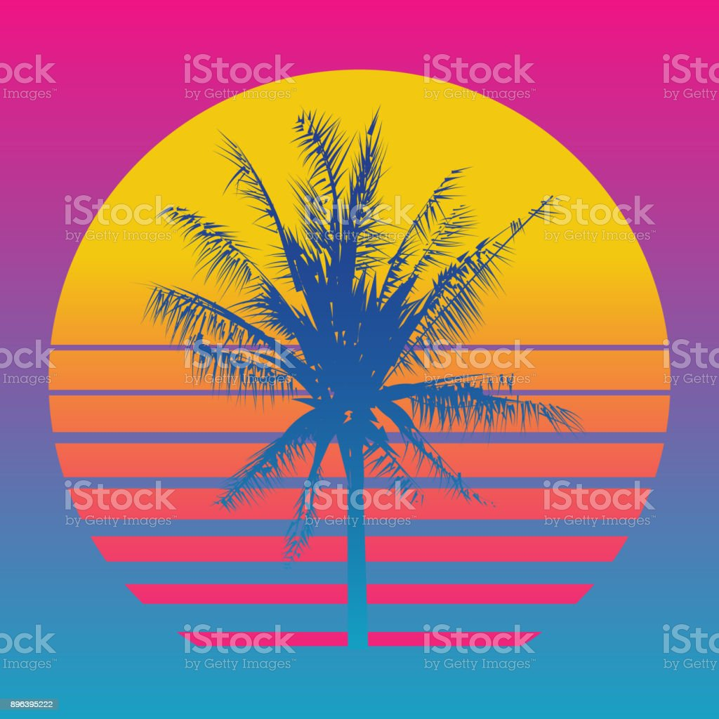 Palm tree silhouettes on a gradient background sunset. Style of the 80's and 90's, web-punk, vaporwave, kitsch vector art illustration