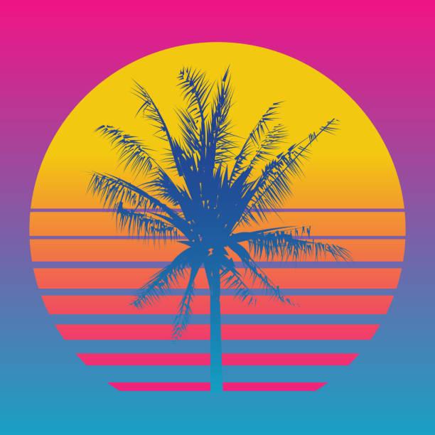 Palm silhouettes d'arbre sur un coucher de soleil fond dégradé. Style des années 80 et 90, vaporwave, web-punk et kitsch - Illustration vectorielle