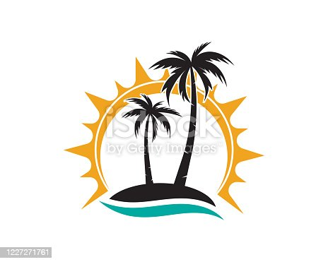 istock palm tree summer logo template vector icon 1227271761