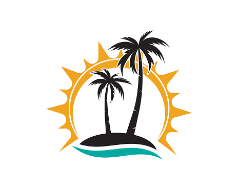 palm tree summer logo template vector icon