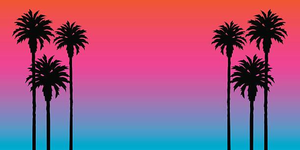 Palm arbres coucher de soleil en arrière-plan - Illustration vectorielle