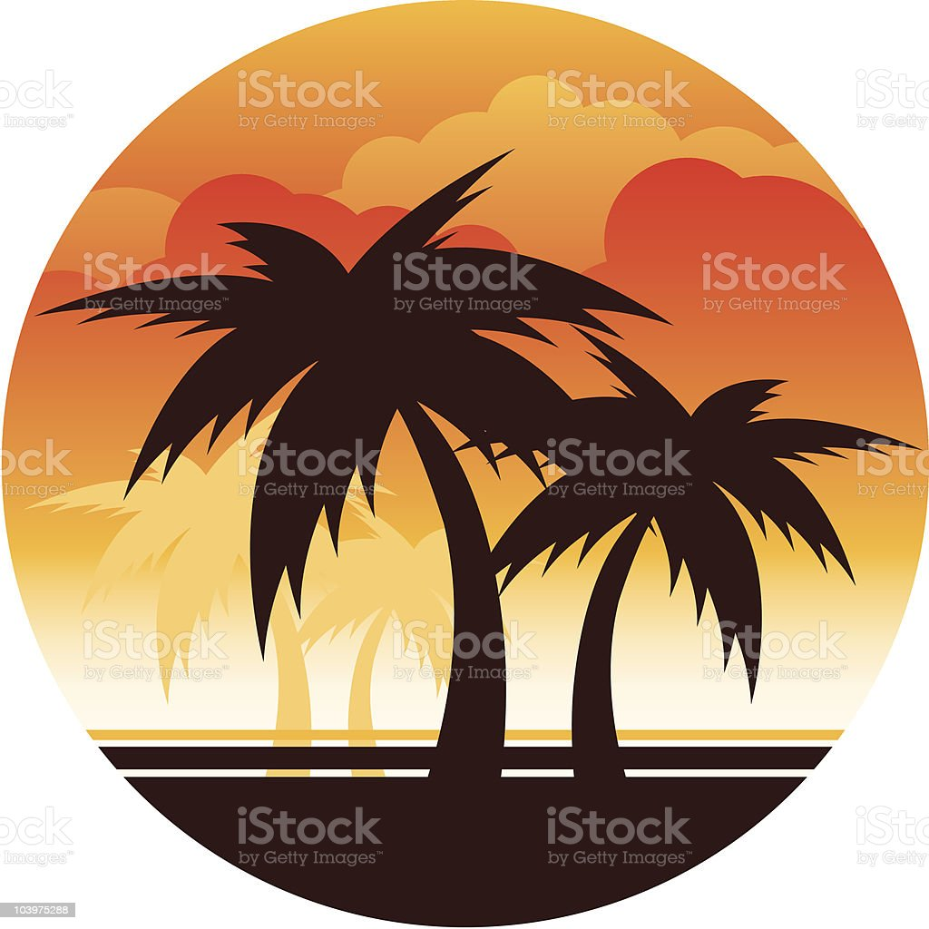 Palm Tree Sunset Beach scene graphic. Backgrounds stock vector