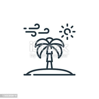 istock palm tree vector icon isolated on white background. Outline, thin line palm tree icon for website design and mobile, app development. Thin line palm tree outline icon vector illustration. 1269389916