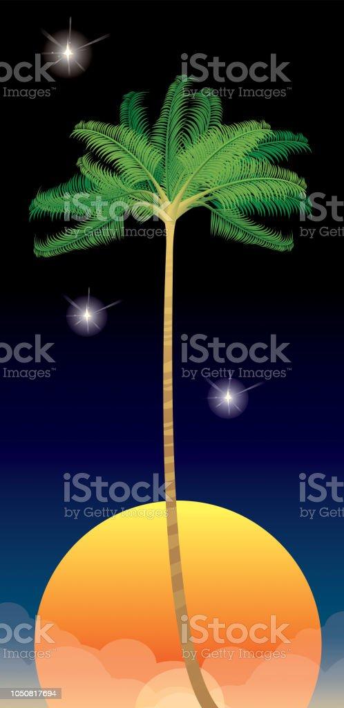Palmiye ağacı vektör sanat illüstrasyonu