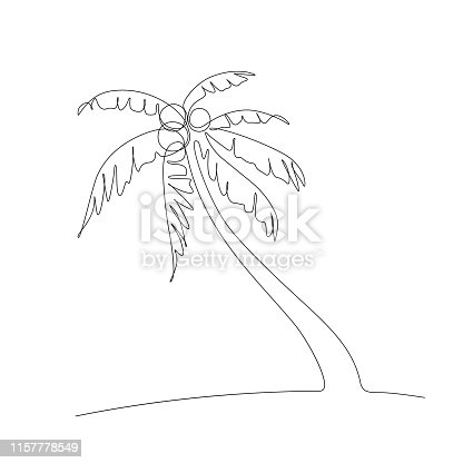 Palm tree in one line art drawing style. Black line sketch on white background. Vector illustration