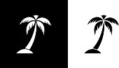 Palm Tree.This royalty free vector illustration features the main icon on both white and black backgrounds. The image is black and white and had the background rendered with the main icon. The illustration is simple yet very conceptual.
