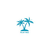 design two silhouette blue palm trees