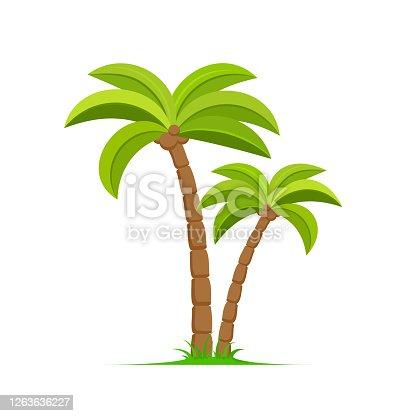istock Palm tree vector island coconut cartoon icon. Palmtree island desert isolated tropical icon 1263636227