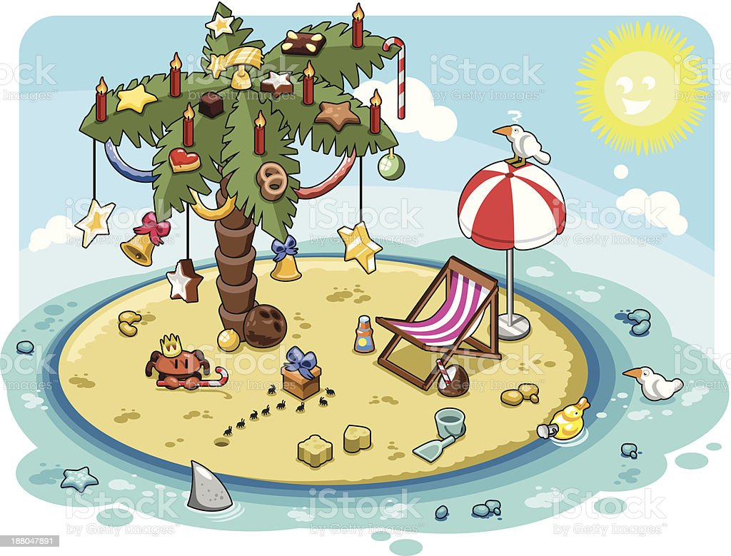 Palm tree with christmas decoration on sunny remote island vector art illustration
