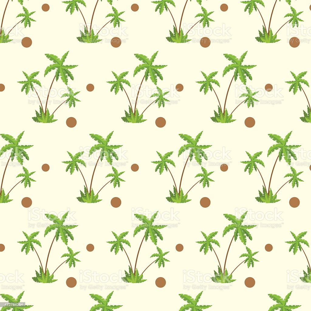 Palm Tree With Coconut Pattern Over Yellow Sand Stock