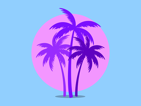 Palm trees against a pink sun in the style of the 80s. Synthwave and 80s style retrowave. Design for advertising brochures, banners, posters, travel agencies. Vector illustration