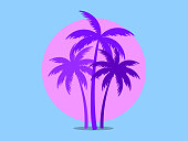 istock Palm trees against a pink sun in the style of the 80s. Synthwave and 80s style retrowave. Design for advertising brochures, banners, posters, travel agencies. Vector illustration 1305128694