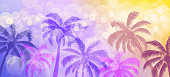 Palm trees and bokeh vector abstract tropical beach summer background. Blue pink purple yellow gradients.
