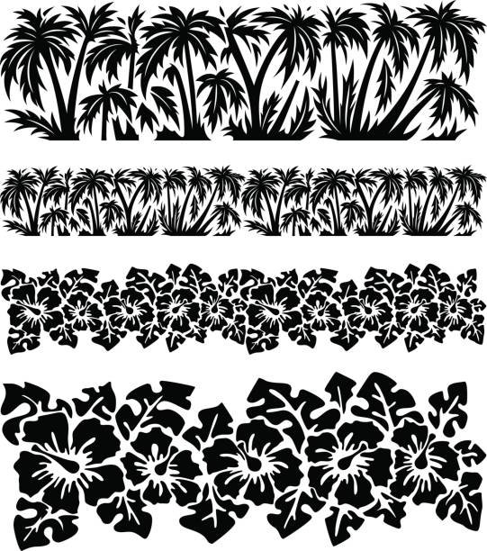 palm trees and hibiscus flowers with monstera leaves. tropical silhouette seamless borders. - hawaiian lei stock illustrations, clip art, cartoons, & icons