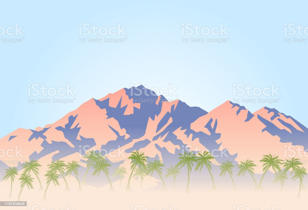 Vector illustration of palm trees and hot desert at the foot of the...