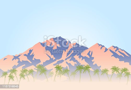 Vector illustration of palm trees and hot desert at the foot of the mountain.