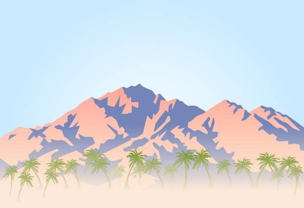 palmen und heiße wüste am fuße des berges - wüste stock-grafiken, -clipart, -cartoons und -symbole