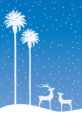 Palm Trees And Reindeer On A Blue Snowing Background