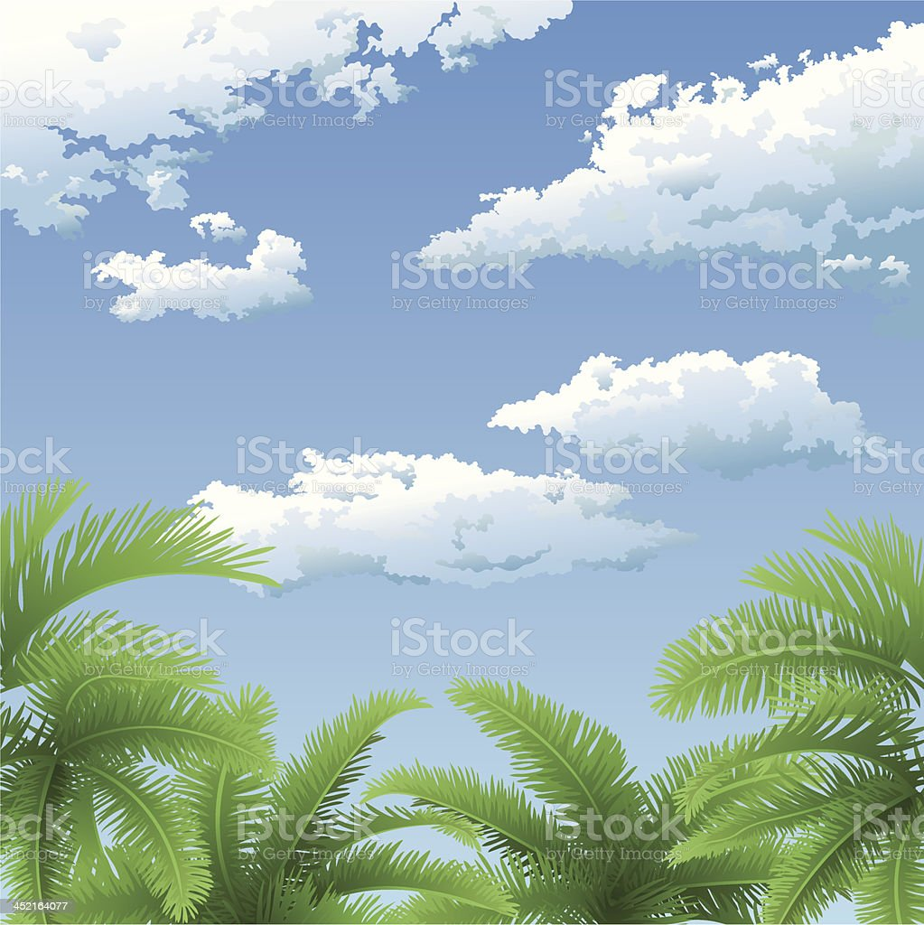 Palm trees and sky with clouds royalty-free stock vector art