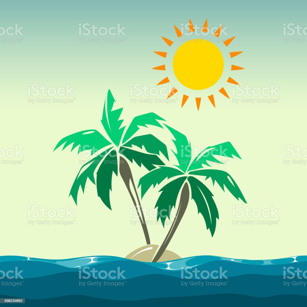 Palm trees and sun design elements ilustração de palm trees and sun design elements e mais banco de imagens de areia royalty-free