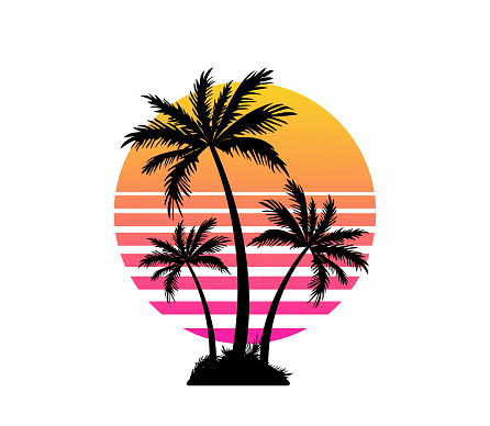 Palm trees and sunset. Summer vacation and travel concept. Logo or t-shirt design.