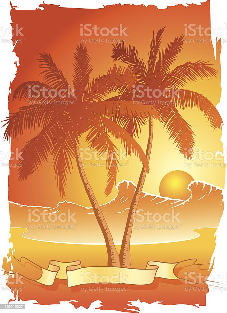 Palm trees at sunset royalty-free stock vector art