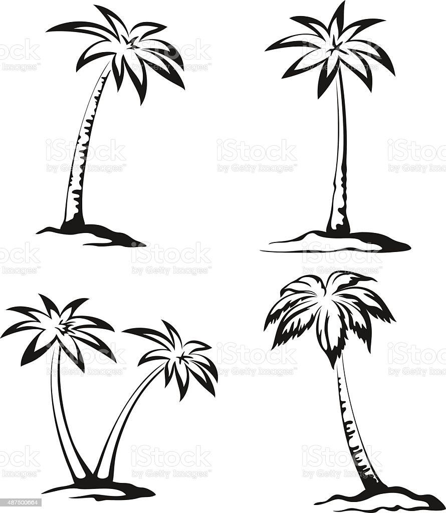 Palm Trees Black Pictograms vector art illustration