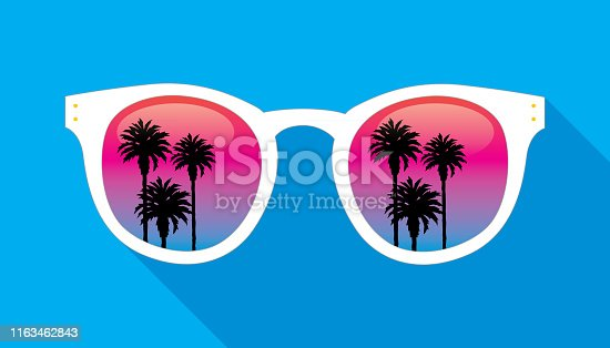 Vector illustration of a pair of white sunglasses with a reflection of palm trees on the lens.
