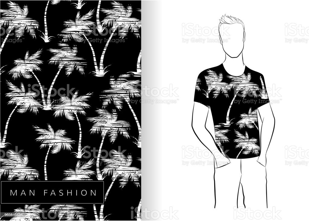 Palm trees seamless pattern white on black t-shirt - Royalty-free Abstract stock vector