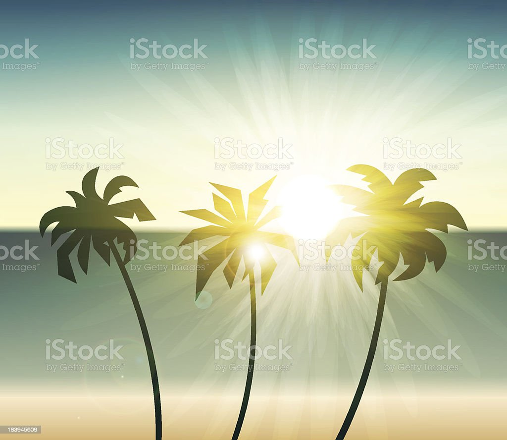Palm trees silhouette at sunset royalty-free stock vector art