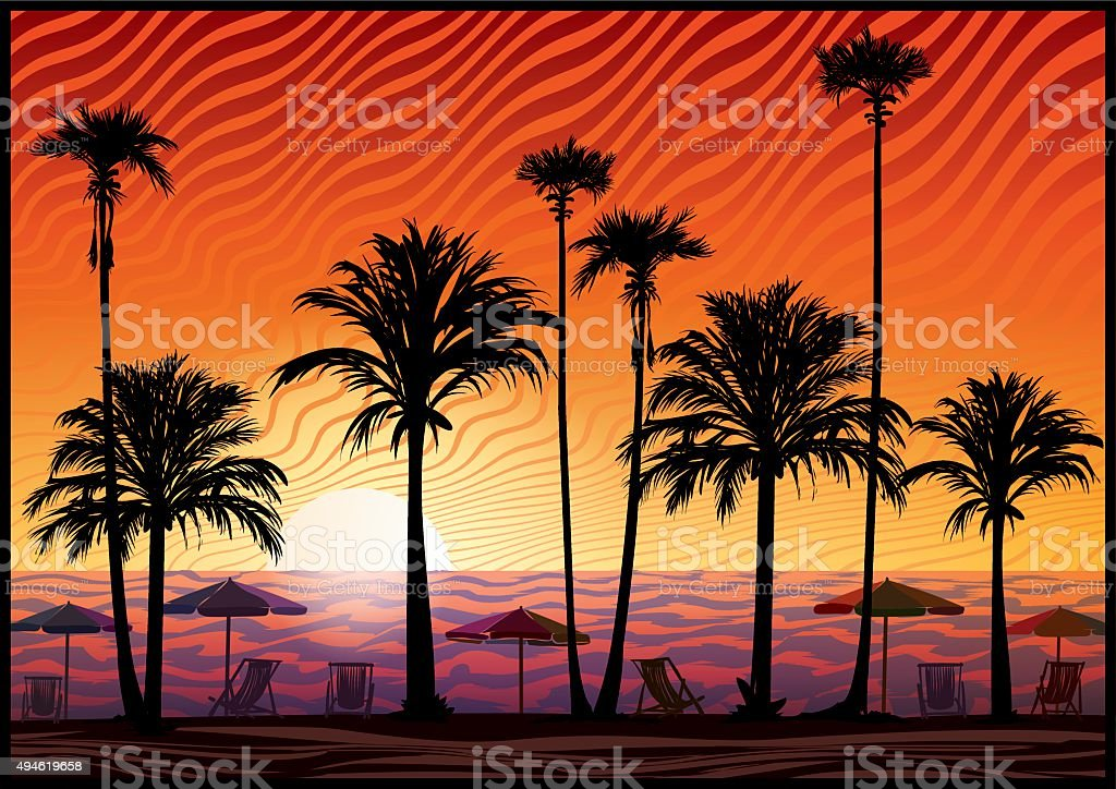 Palm trees silhouette at sunset. vector art illustration