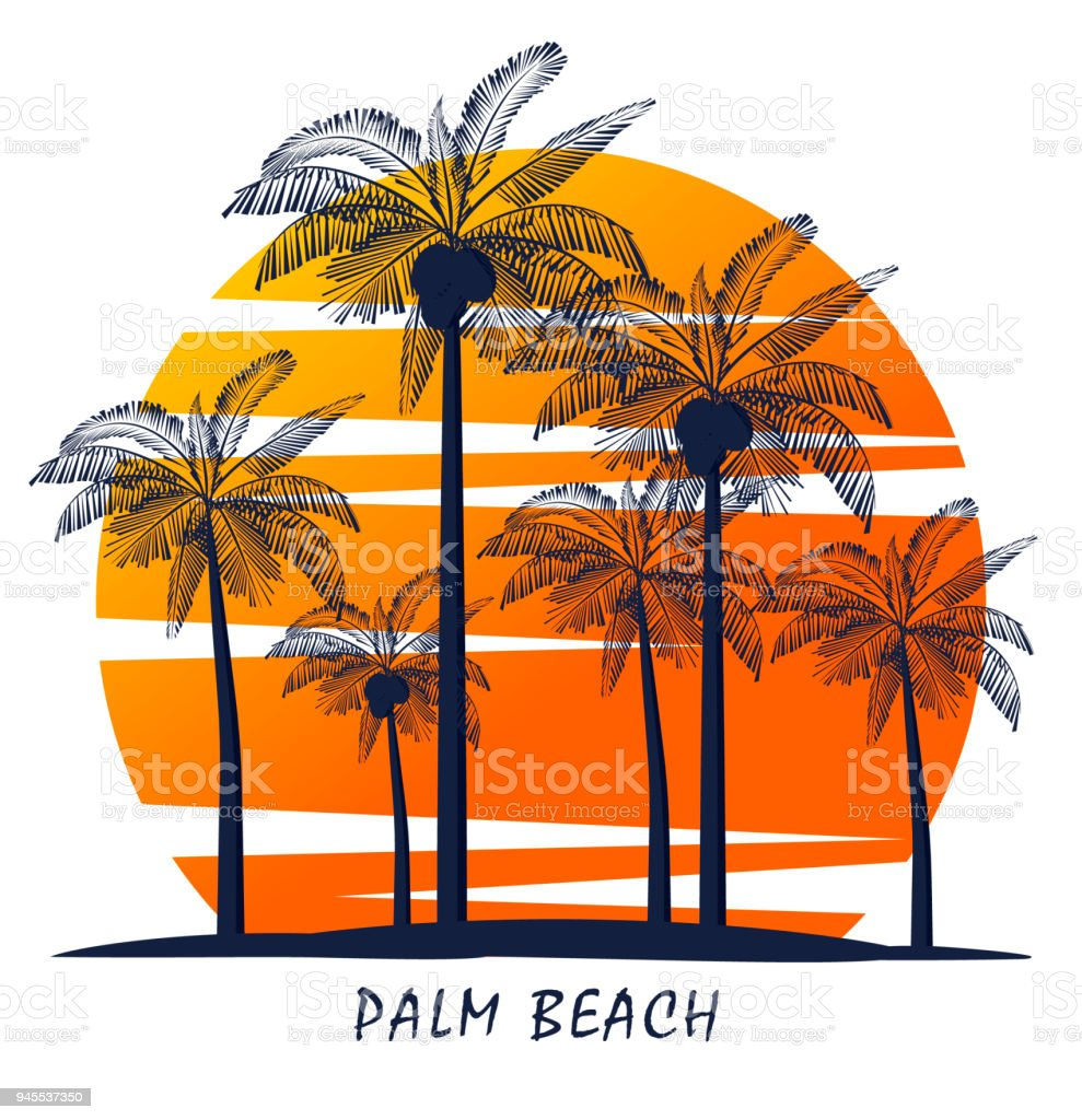 Palm trees silhouette on island. Vector illustration. Icon